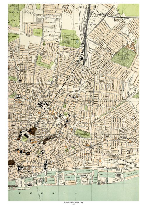 Liverpool (south) 1900 map - old maps of Lancashire