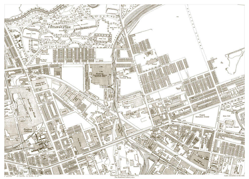 An old map of the Manchester Clayton Bradford Colliery area