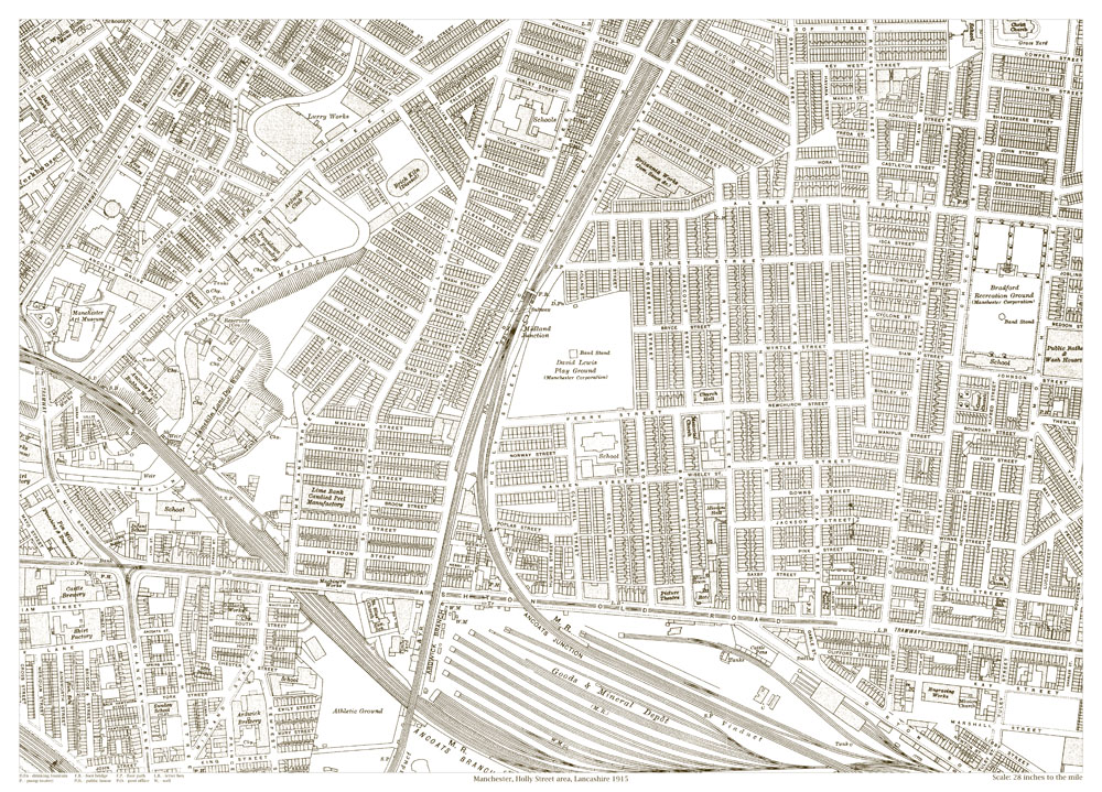 An old map of the Manchester Holly Street area Lancashire in 1915