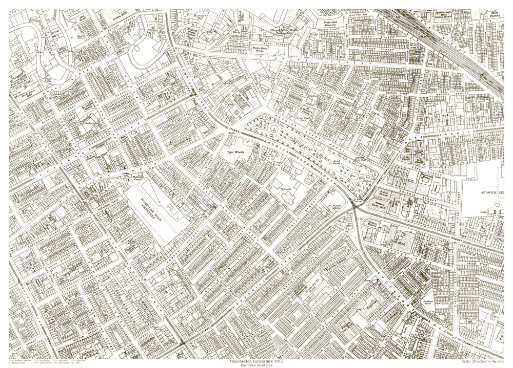 An old map of the Manchester Rusholme Road area Lancashire in 1915