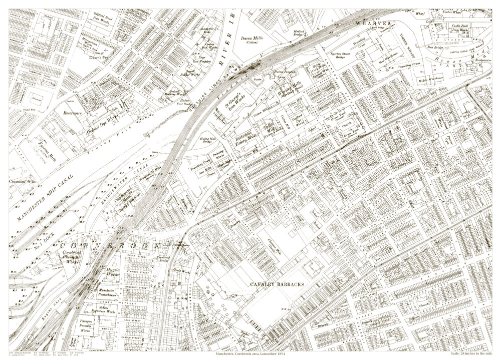 An old map of the Manchester Cornbrook area Lancashire in 1894 as