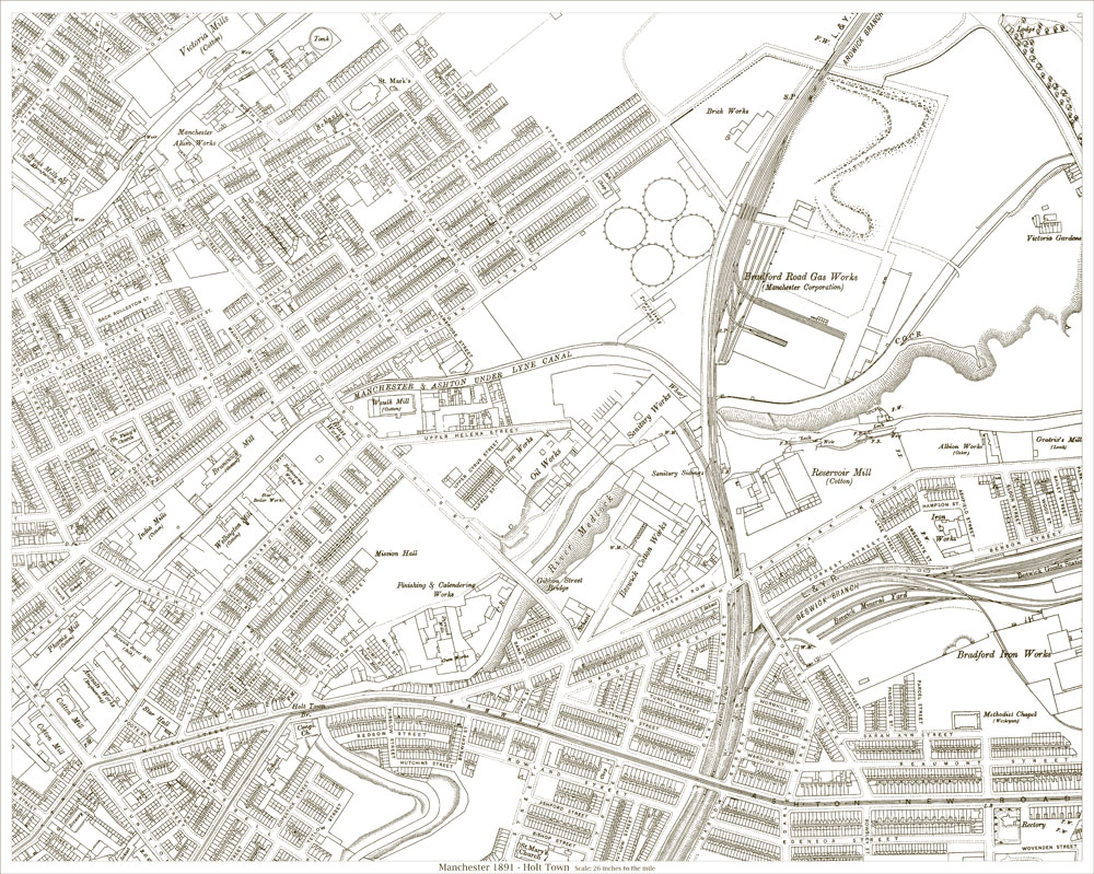 An old map of the Manchester Holt Town area Lancashire in 1891 as