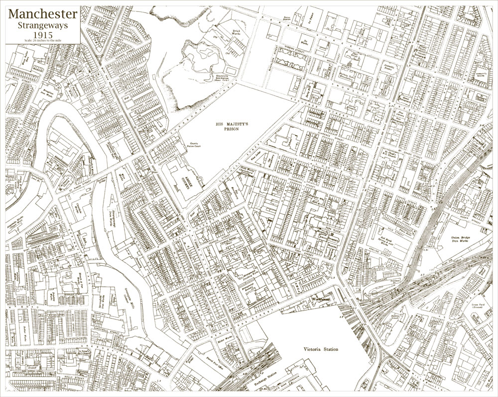 An old map of the Manchester Strangeways area Lancashire in 1915 as