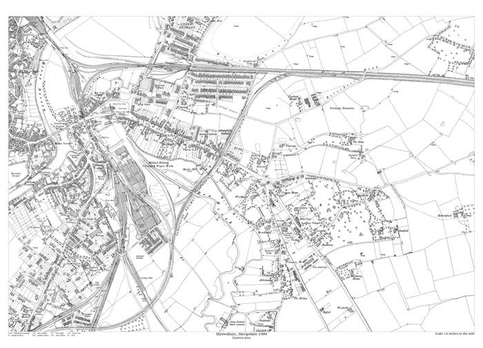 Shrewsbury (east) 1900 map - old maps of Shropshire