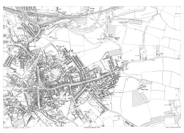 Taunton 1903 map old maps of Somerset