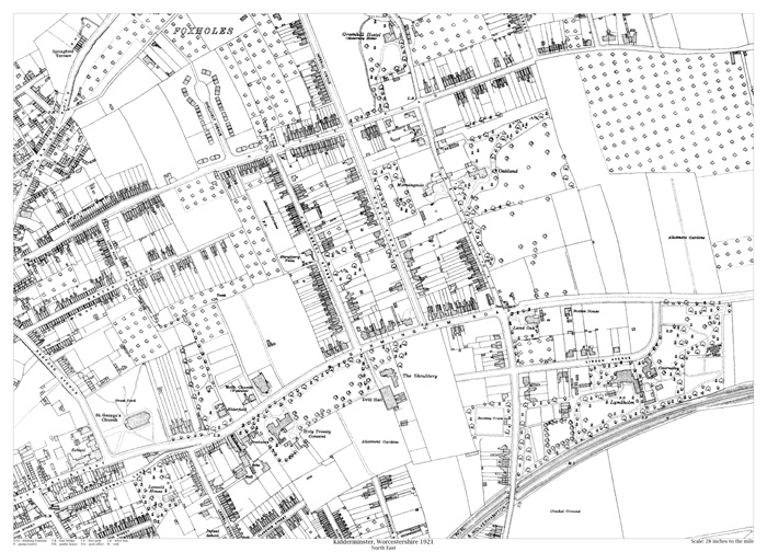 Kidderminster northeast 1921 map old maps of Worcestershire