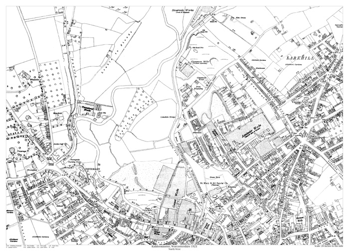 Kidderminster northwest 1921 map old maps of Worcestershire