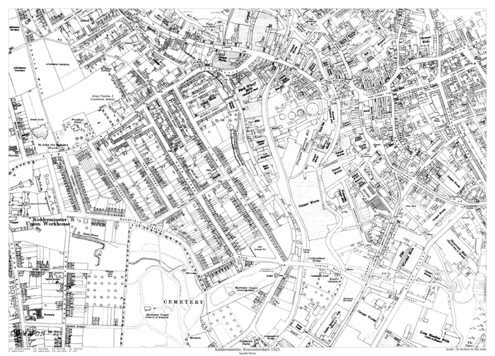 Kidderminster southwest 1921 map old maps of Worcestershire