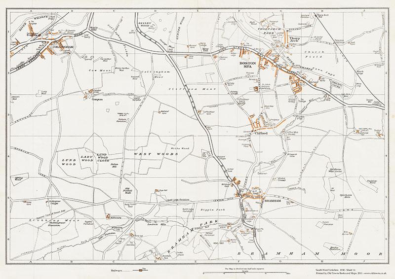 YORKSHIRE.Boston Spa,Bramham,Bramham Moor,Clifford,Thorp Arch 1935 old map