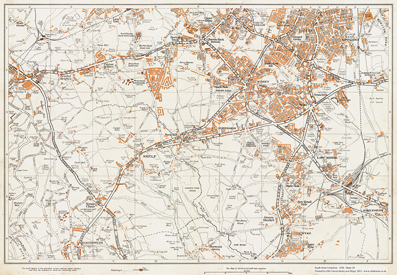 An Old Map Of Bradford Southwest West Bowling Little