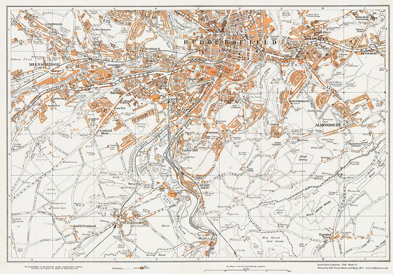 OLD ORDNANCE SURVEY MAP HUDDERSFIELD SOUTH 1905 LOCKWOOD RD NEWSOME ALMONDBURY