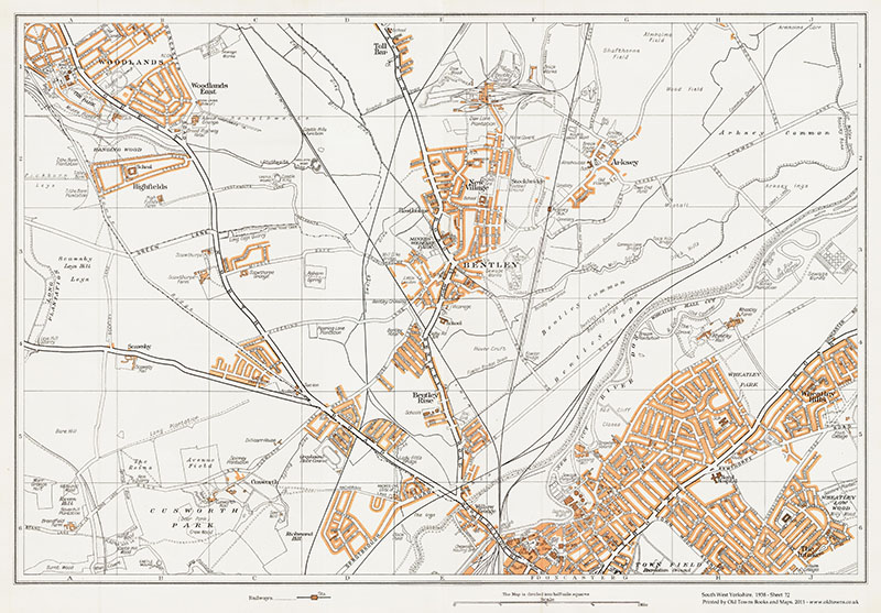 An old map of Doncaster (north), Bentley, Woodlands East & Arksey