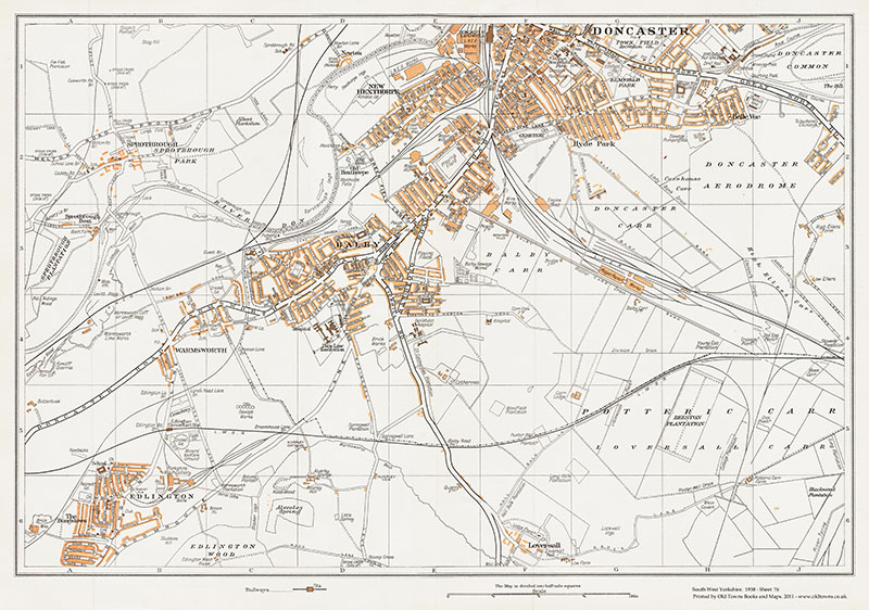 An old map of Doncaster (south), Balby, Edlington, Sprotborough ...