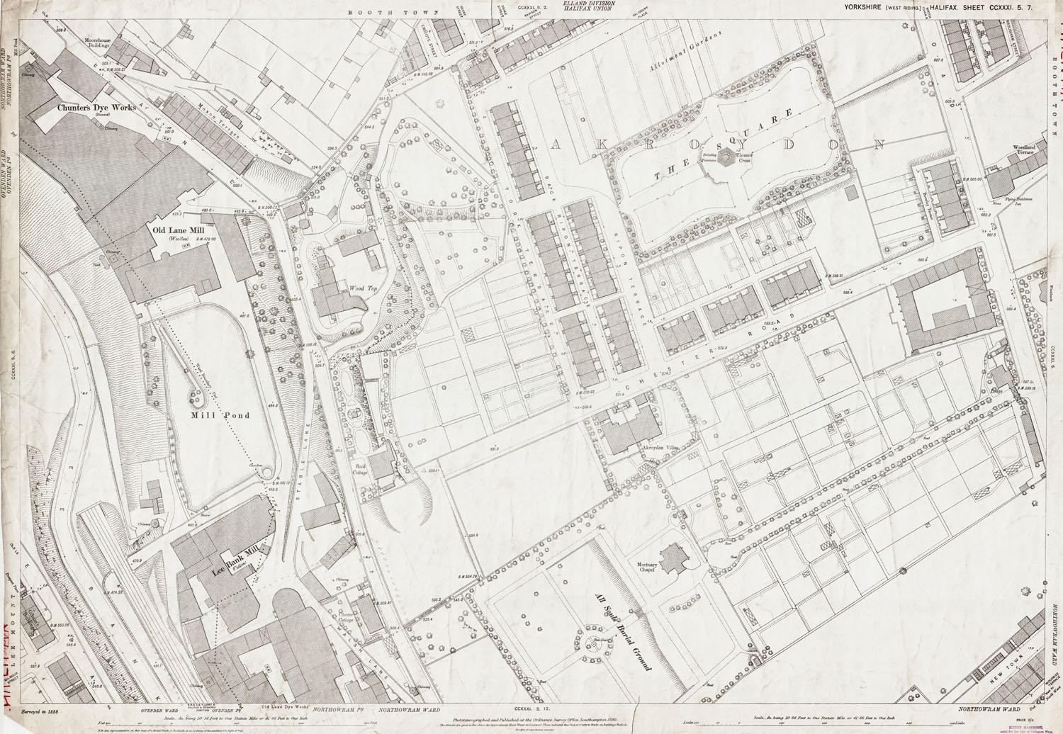 Old Ordnance Survey Map 231 5 7 Halifax Yorkshire In 1890