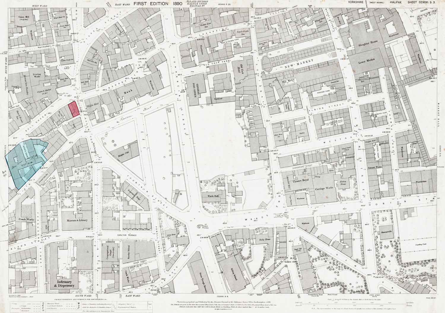 Old Ordnance Survey Map 231 9 3 Halifax Yorkshire In 1890