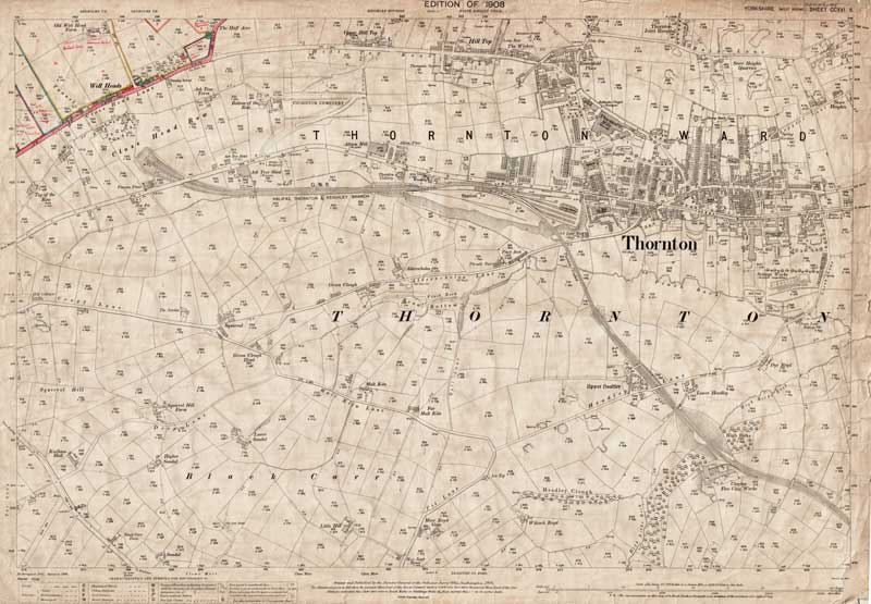 Old map of Thornton Bradford Yorkshire in 1908