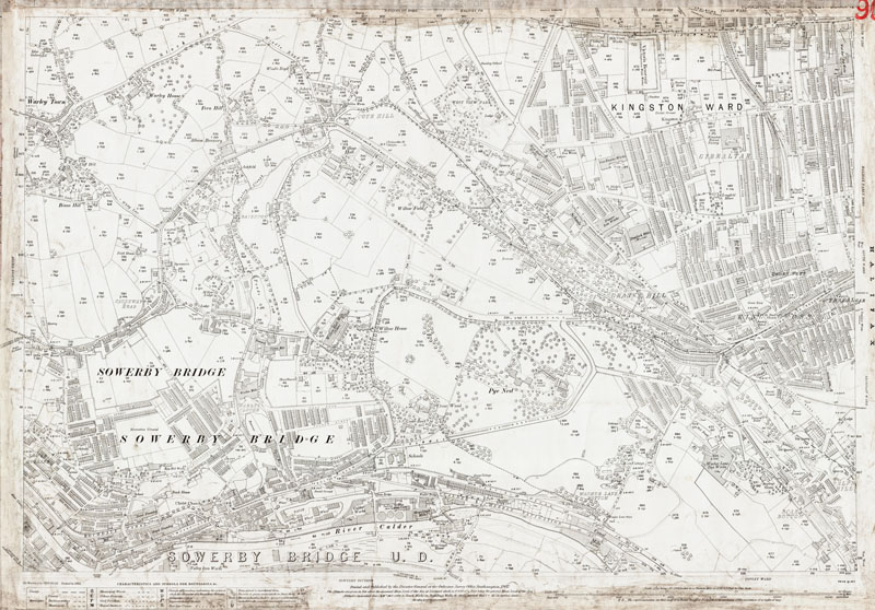 Old Map Of Halifax West And Sowerby Bridge East Yorkshire In 1907