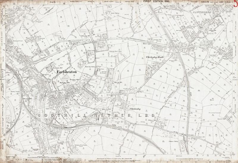 Old map of Dewsbury east Earlsheaton and Ossett southwest