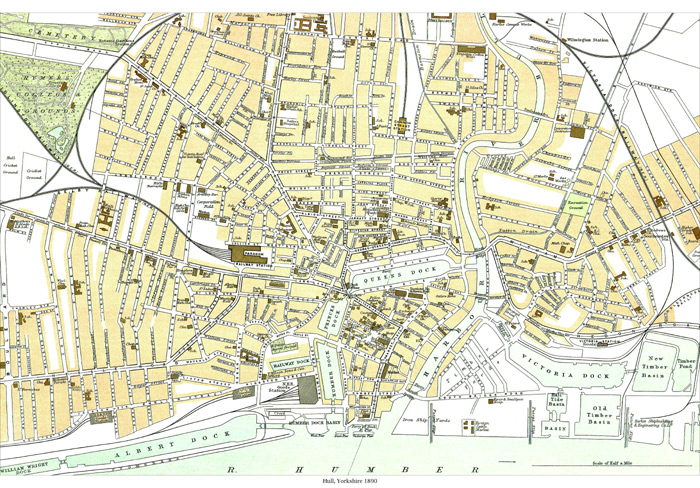 Map Of Uk Hull.Hull Town Plan 1900 Old Maps Of Yorkshire