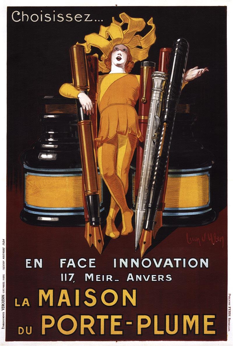 la maison du porte plume 1928 belgium belgian vintage old repro poster ebay. Black Bedroom Furniture Sets. Home Design Ideas