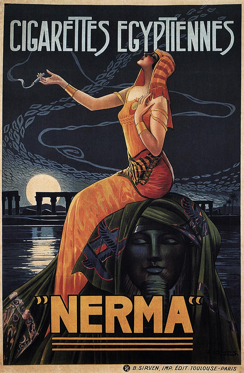 Nerma Egyptian cigarettes 1924 - vintage old repro smoking poster ...