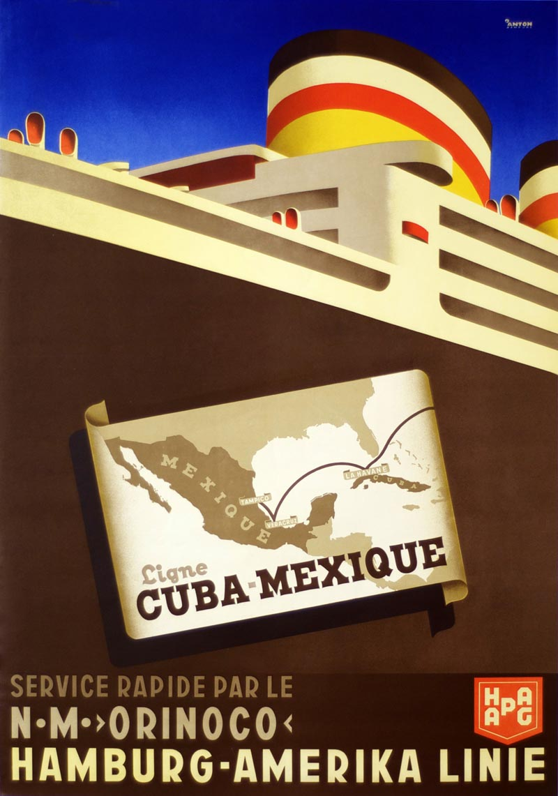 hamburg america line cuba mexico vintage repro wall poster in 3 sizes ebay. Black Bedroom Furniture Sets. Home Design Ideas