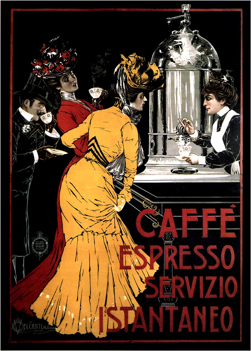 Caffe espresso 1900 italy italian vintage old repro coffee poster ebay - Machine a cafe vintage ...