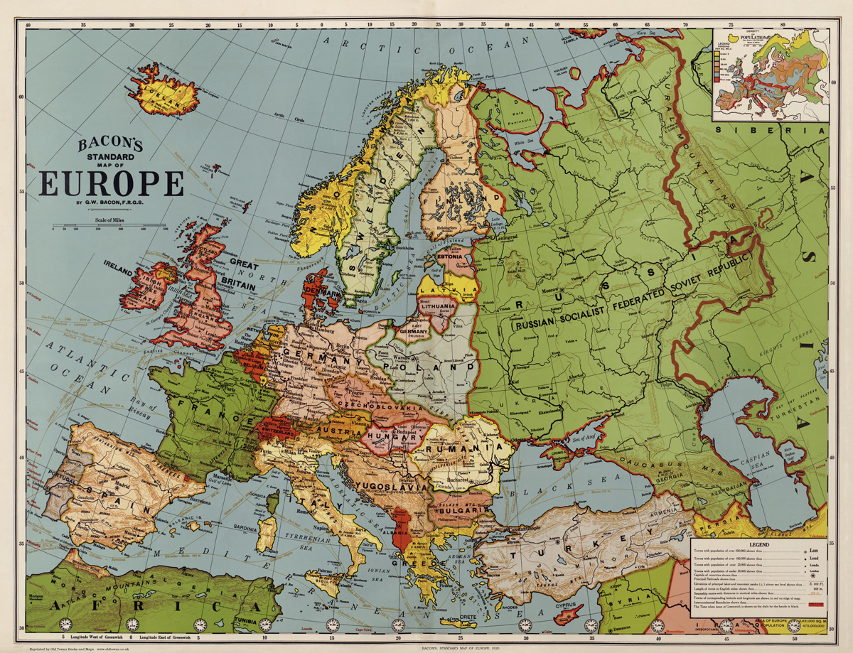Old Map of Europe in 1920 76x58cm by G W Bacon repro vintage historical