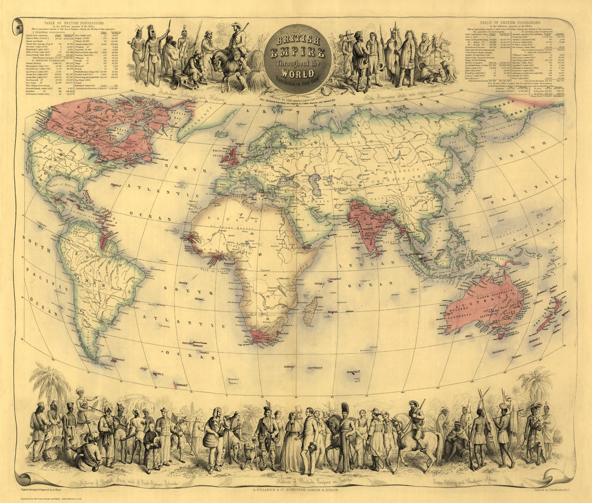 Old Map of the British Empire in1855 by Fullarton  repro vintage