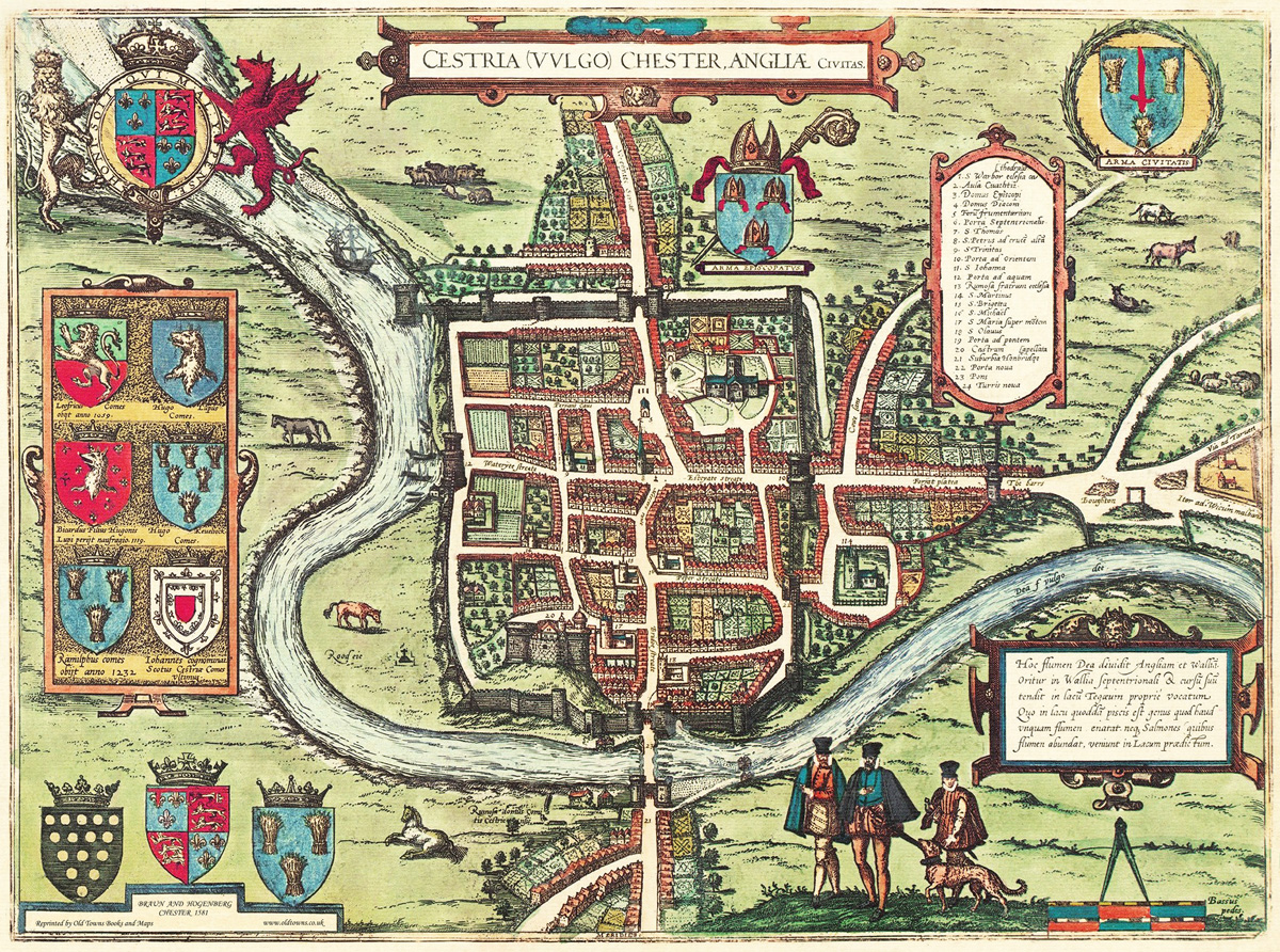 Old Map Of Chester In 1581 Plan By Georg Braun Repro