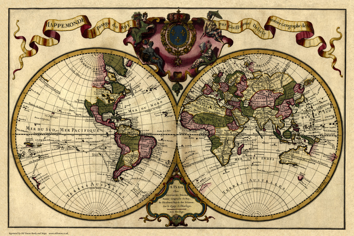 Old Map of the World in 1720 by Guillaume Delisle repro vintage historica