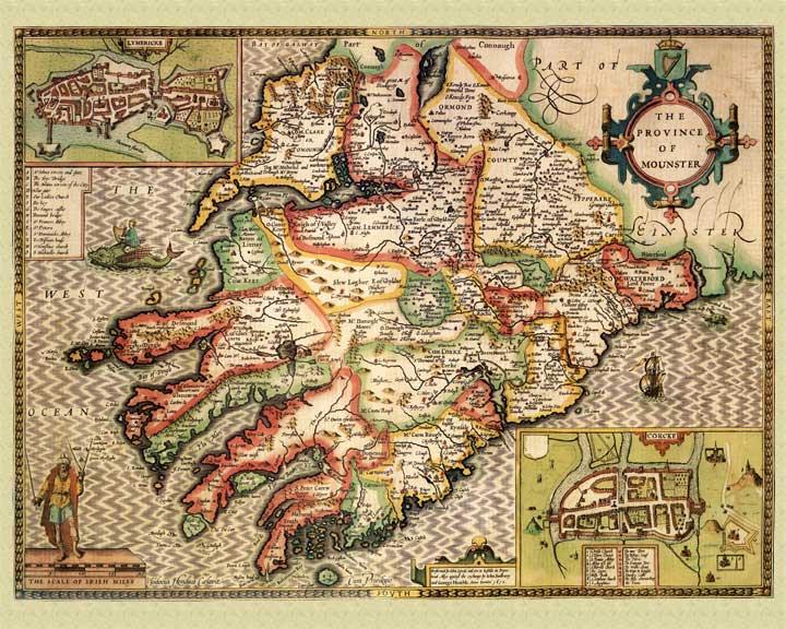 John Speed Map Of Ireland.Speed Map Munster Ireland John Speed 1610
