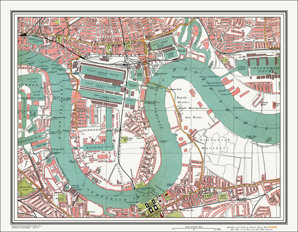 Isle Of Dogs Map An old map of the Isle of Dogs, Blackwall area, London in 1908 as  Isle Of Dogs Map