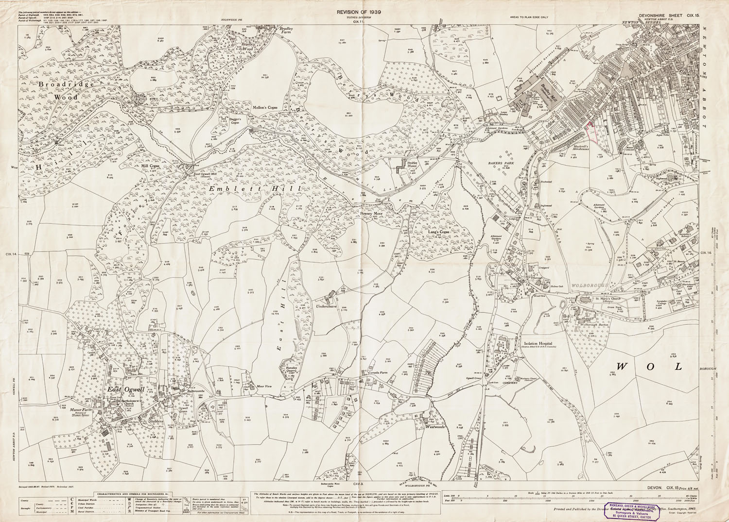 Newton Abbot Map Old Ordnance Survey Map of Newton Abbot (southwest) and East  Newton Abbot Map