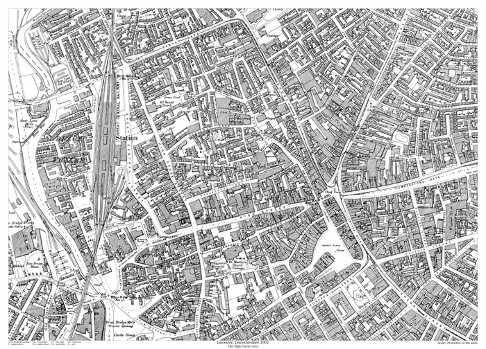 Old Street Map Leicester High Street area 1902 map   old maps of Leicestershire Old Street Map