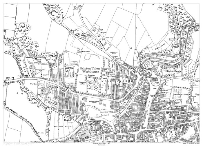 Map Of Skipton Skipton (northwest) 1907 map   old maps of Yorkshire Map Of Skipton